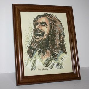 """NWT Jesus Laughing Print 8x10"""" frame picture"""